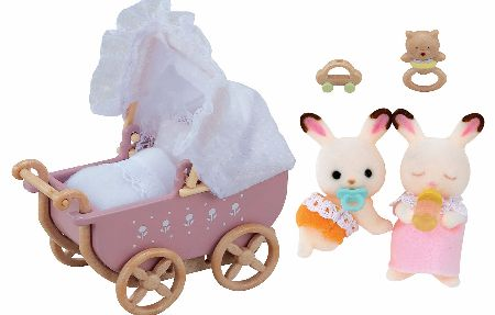 The Sylvanian Families Chocolate Rabbit Twin Babies Set consists of Kabe and Breeze Chocolate with Pram. - CLICK FOR MORE INFORMATION