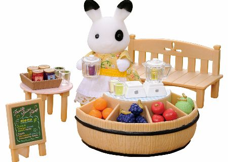 Betty Blackberry runs the Sylvanian Juice Bar in the village square throughout the summer; blenders, figure, stall and fruit included in the Sylvanian Families Juice Bar set. - CLICK FOR MORE INFORMATION