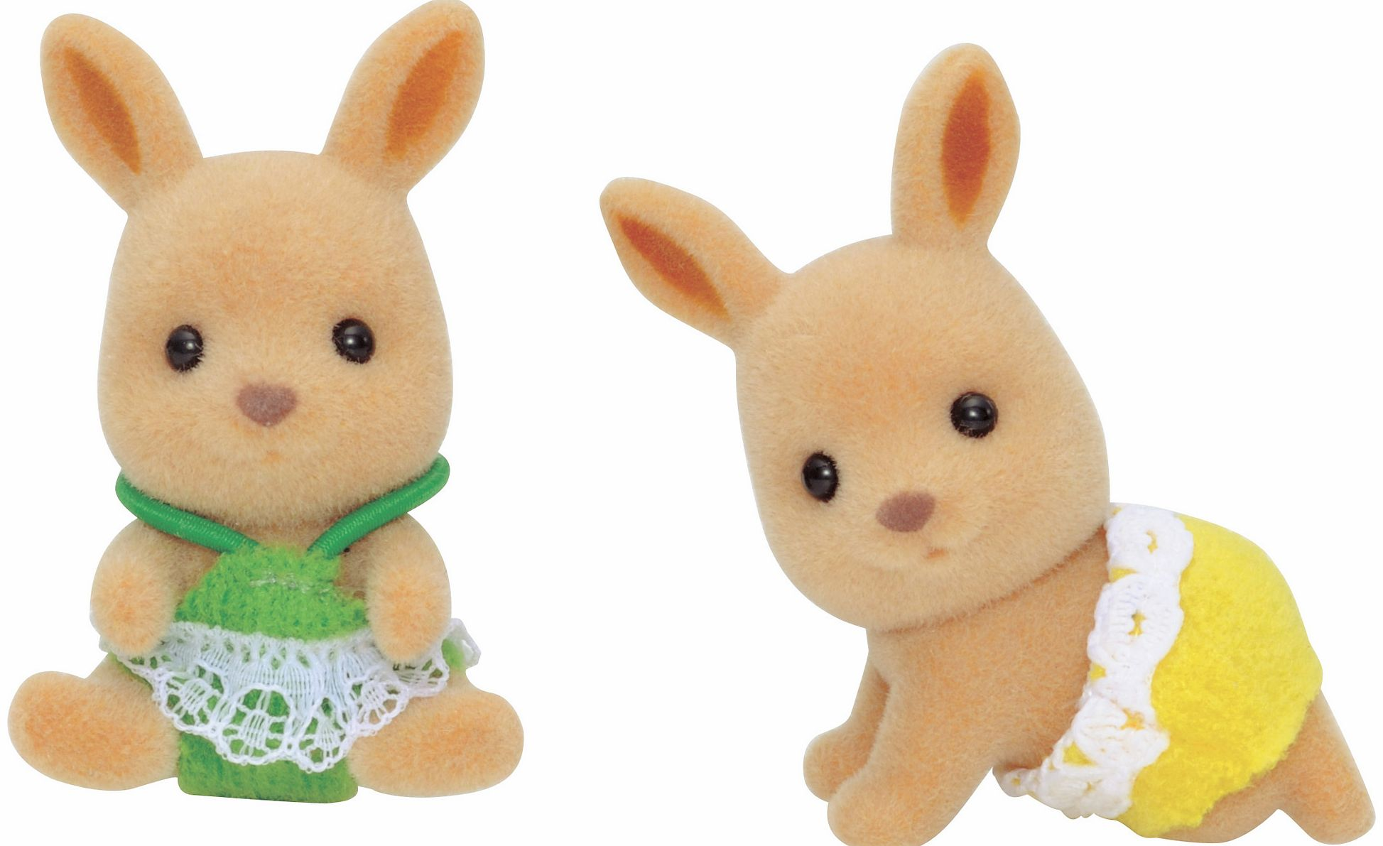 Please note: Only two figures included. The Sylvanian Families Kangaroo Twin Babies figures feature one sitting baby and one crawling baby. Milk bottle and dummy also included. - CLICK FOR MORE INFORMATION