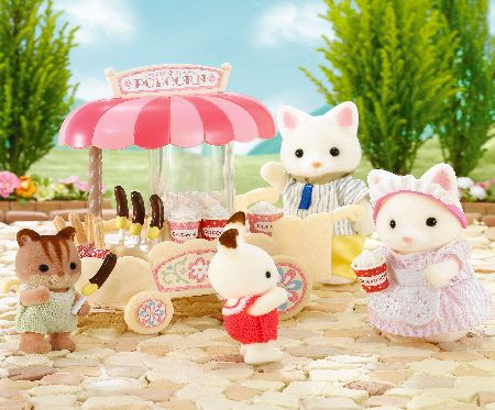 Wagon shop selling popcorn and sweets for Sylvanian children. Includes over 15 pieces.<br>Figure not included.<br><br>Suitable for ages 4 years +<brand (Barcode EAN = 5054131046104). - CLICK FOR MORE INFORMATION