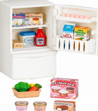 Fridge with a door and a drawer with a variety of foods. This is the new 2014 version of this item made by Epoch who own Sylvanians.<br><br>Suitable for 3 yea (Barcode EAN = 5054131050217). - CLICK FOR MORE INFORMATION