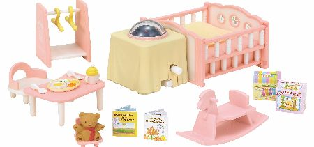 The Sylvanian Nightlight Nursery Set contains over 15 Pieces. Includes a baby rocking horse, twin cot and a working, rotating nightlight!Requires 2 x AA batteries (not included). - CLICK FOR MORE INFORMATION