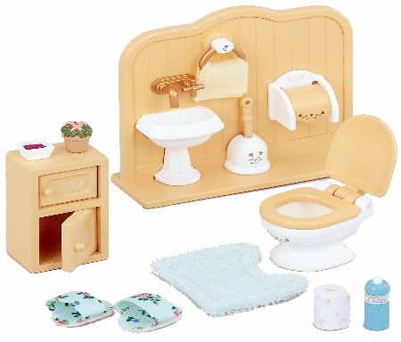Includes toilet, washstand with towel hanger, small shelf and some detailed accessories. This is the new 2014 version of this item made by Epoch who own Sylvanians. Flair (Barcode EAN = 5054131050200). - CLICK FOR MORE INFORMATION