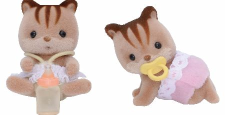 The Sylvanian Families Walnut Squirrel Twin Babies consist of Alfie and Alyssa Walnut with their dummy and bottle. - CLICK FOR MORE INFORMATION