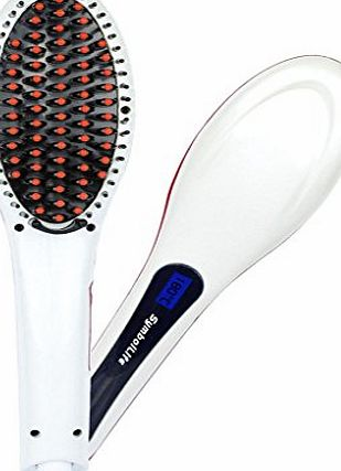 SymbolLife Hair Straightening Brush, SymbolLife Instant Magic Silky Straight Hair Styling, Anion Hair Care, Anti Scald, Zero Damage, Massager Straightening Irons, Detangling Hair Brush, White