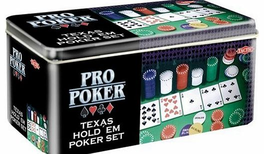 Tactic Games UK Pro Poker Texas Holdem Set - Tin product image