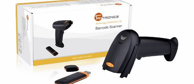 TaoTronics TT-BS012 Wireless Cordless Handheld Barcode Bar Code Scanner Reader Kit - Black, 32-bit Decoder, Anti-interference, Mobile Moveable, Optical Laser,Short Range product image