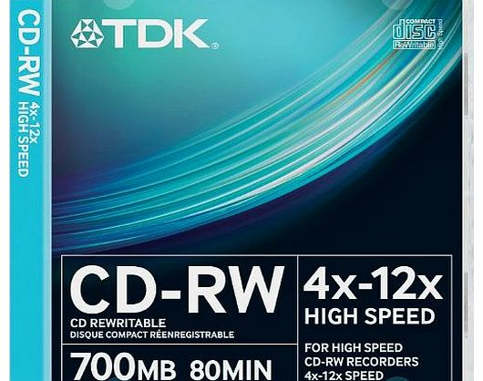 TDK T18792 CDRW High Speed 12x 10 Pack Slim Jewel Case product image