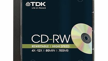 TDK  3 Tdk Jewel Case Cd-Rw Rewritable Disc 4X-12X Speed 80Min/ 700Mb, Best Price product image