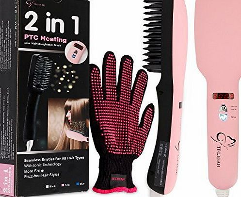 TEC.BEAN 2-in-1 Ionic Hair Straightener Brush PTC Heating Hair Straightening Irons 5 Heat Settings for Different Hair Types 360 Rotatable Power Cord with Heat Resistant Glove