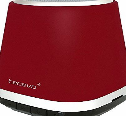 TECEVO T1 Wireless Bluetooth Speaker Ultra Portable And Rechargeable Stereo Sound With Microphone For Handsfree Call Built-in Micro SD Card MP3 Player (Red)