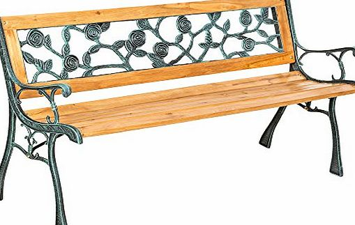 TecTake 3 Seater Wooden Slat Garden Bench Seat Lattice Style Cast Iron Legs 128 x 51 x 73cm