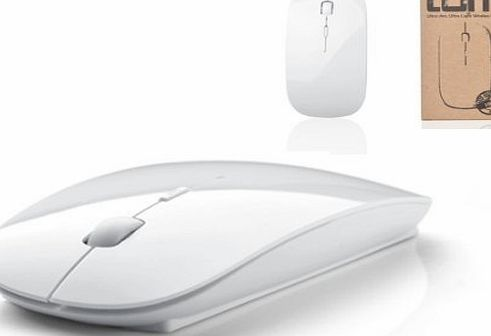 Tedim Ultra Slim/Small Wireless Optical Mouse for Apple Mac Book/Laptop - White