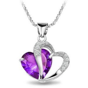 TEJ Rhodium Plated Diamond Accent Amethyst Heart Shape Pendant Necklace Including Singapore Chain 18 inch product image