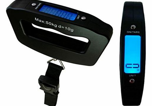 TekBox 50KG Portable Handheld Digital Luggage Scales / Backlit Electronic LCD Screen / For Suitcase, Hand Luggage, Bags / Includes Bag Strap and Batteries product image