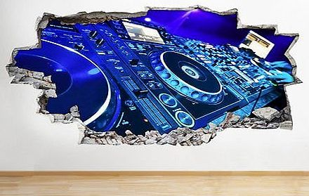 tekkdesigns Dj Decks Music Cool Studio Boys Bedroom Wall Decal 3D Art Stickers (Medium (52x30cm))