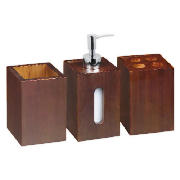 Bamboo 3 Piece Accessory Set, Dark Finish