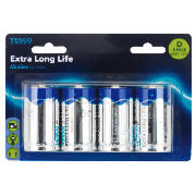 extra long life alkaline D batteries, 4 pack