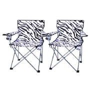 folding armchair zebra 2 pack