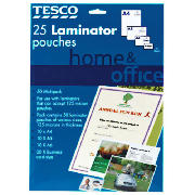 Tesco Home and Office A4 laminator pouches 25 pack