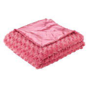 Tesco Kids Rose Fur Throw, Bright Pink