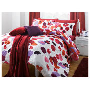 tesco Splash Garden Print Duvet Set Single, Red