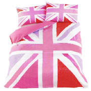 Tesco union jack print double hot pink review compare for Pink union jack bedding