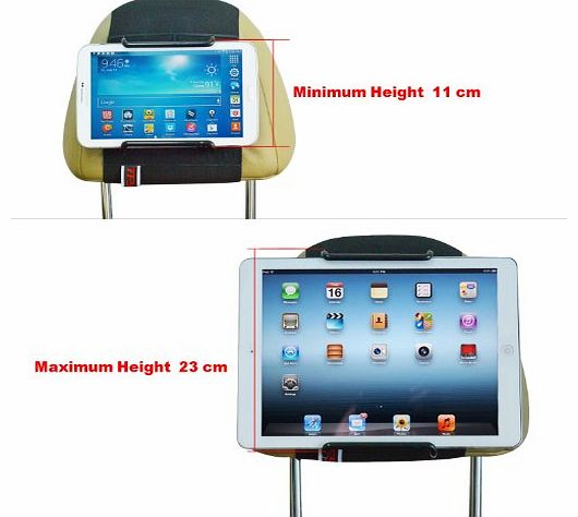Universal Car Headrest Mount Holder for 7 Inch to 11 Inch Tablet PC - Apple iPad,iPad4(iPad 2&3),iPad Air(iPad5),iPad Mini - Samsung Galaxy Tab 2,Galaxy Tab 3,Galaxy Note - Google Nexus 7,10 -