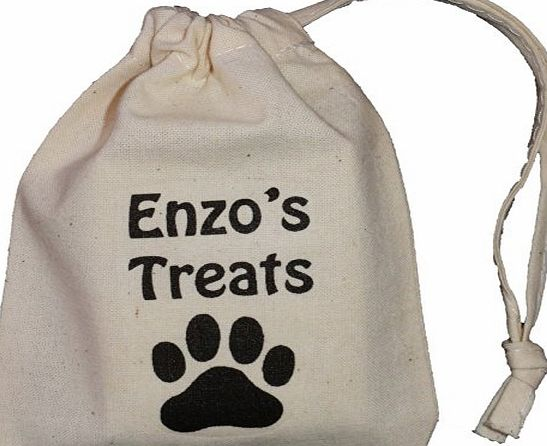 The Cotton Bag Store Ltd Personalised - Dog Treats Bag - TINY Natural Cotton Drawstring Cotton Bag - Paw print design - SUPPLIED EMPTY - Any name printed!