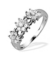 The Diamond Store.co.uk 9K White Gold Diamond Three Cluster Ring product image