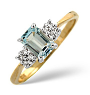 The Diamond Store.co.uk Blue Topaz and 0.06CT Diamond Ring 9K Yellow Gold product image