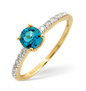 The Diamond Store.co.uk Blue Topaz and 0.09CT Diamond Ring 9K Yellow Gold product image