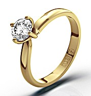 Certified 0.50CT Lily 18K Gold Engagement Ring H/SI1