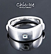 The Diamond Store.co.uk Chic Ice Blue Diamond Designer Silver Napoli Ring product image