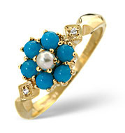 The Diamond Store.co.uk Pearl and Turquoise Ring 9K Yellow Gold product image