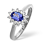 The Diamond Store.co.uk Tanzanite and 0.18CT Diamond Ring 18K White Gold