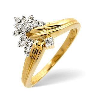 The Diamond Store.co.uk Wishbone Ring 0.19CT Diamond 9K Yellow Gold product image