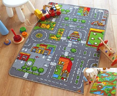 The Good Rug Company Reversible Road Map Farm Animal Cars Rug Play Mat 100cm x 165cm (33 x 54 approx) product image