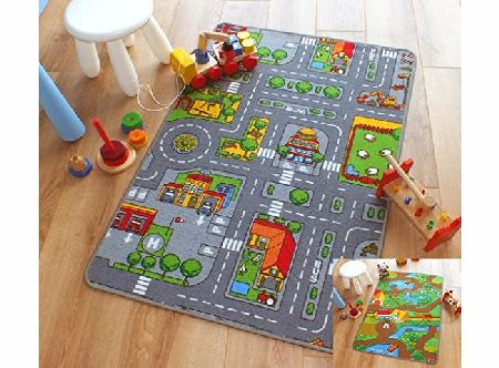 The Good Rug Company Reversible Road Map Farm Animal Cars Rug Play Mat 80cm x 120cm (26 x 4 approx) product image