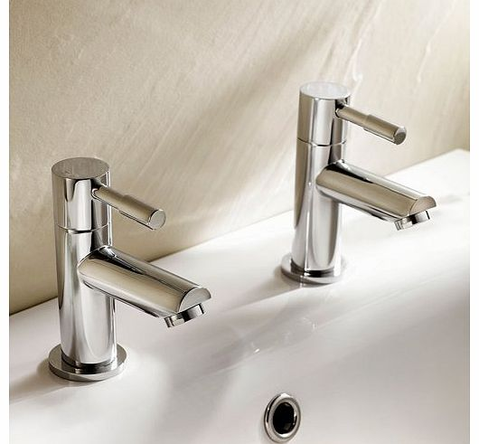 Modern Twin Basin Sink Hot and Cold Taps Luxury Pair Chrome Bathroom Faucet