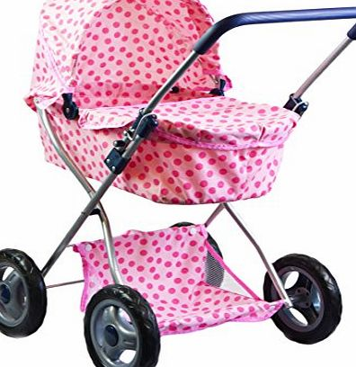 The Magic Toy Shop 4 Wheels Dolls Pram Spotty Stroller Navy Pushchair Buggy with Storage Basket (Pink)