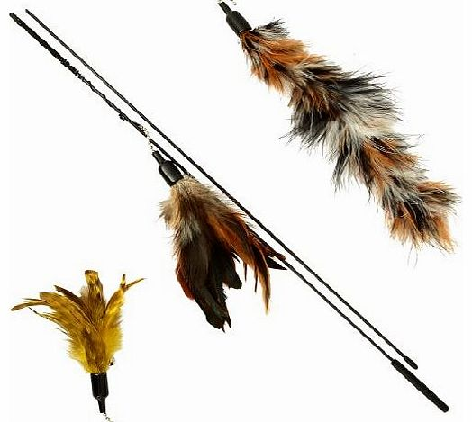The Natural Pet Company Luxury Feather Dangler For Cats - 2 Spare Feather Refills For Longer lasting Life