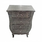 The Orchard at notonthehighstreet.com Silver and Black Embossed 4 Drawer Chest