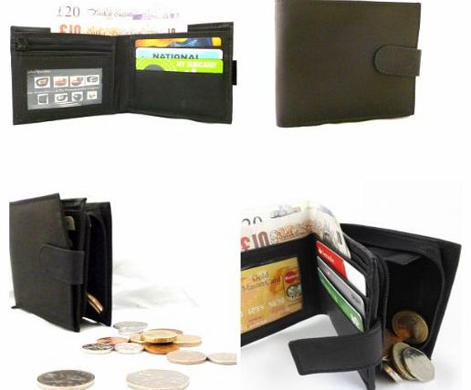 The Premium Leather Company MENS SOFT BLACK SMOOTH LEATHER CREDIT CARD WALLET WITH ZIP COIN POCKET & ID WINDOW product image