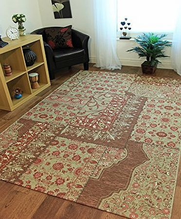 The Rug House Bella Elegant Pink, Gold amp; Beige Thin Vintage Style Floral Rugs product image