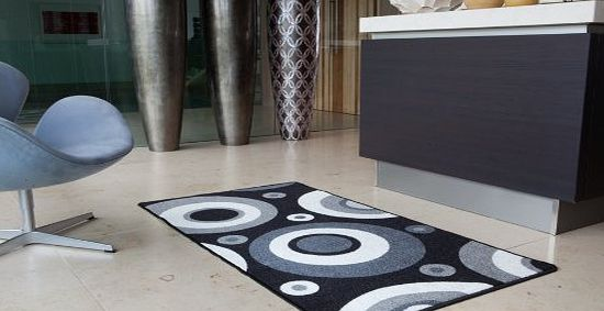 The Rug House Lapina Black - Black and White Retro Non Shed Affordable Anti Slip Hallway Runner Rug Luna - 8 sizes available product image