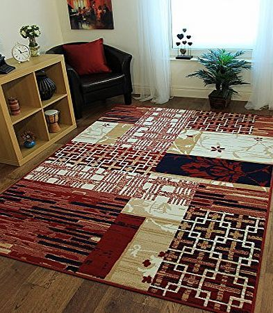 The Rug House Milan Stylish Modern Red amp; Blue Patchwork Rug 1784-X22 - 5 Sizes product image