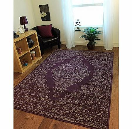 The Rug House Milan Traditional Purple amp; Grey Medallion Print Rug 1027-H23 - 5 Sizes product image