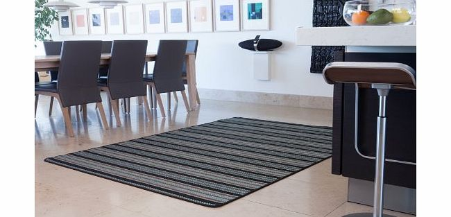 The Rug House Modern Black Blue Striped Thin Anti Slip Sisal Style Rugs 015 05 Panama - 9 Sizes Available product image
