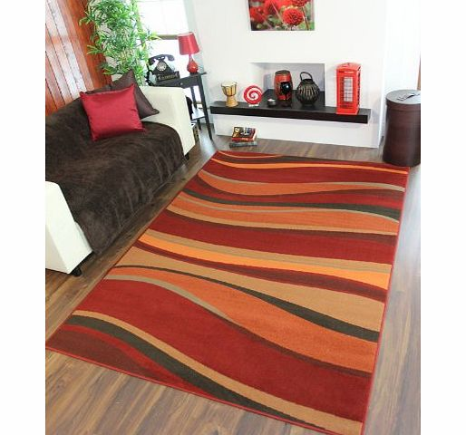 The Rug House Warm Red, Brown, Green, Burnt Orange Modern Waves Rugs 120cm x 170cm (3ft 11`` x 5ft 7``) product image